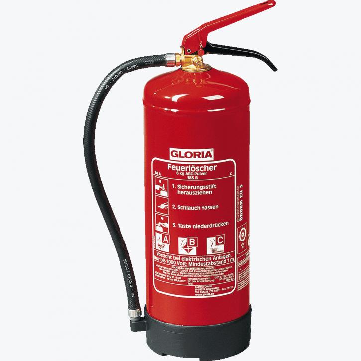 Gloria 6 kg ABC- Pulver- Dauerdruck- Feuerlöscher PD6GA;10 LE, 34 A, 233 B, mit oder ohne Instandhaltungsnachweis erhältlich!