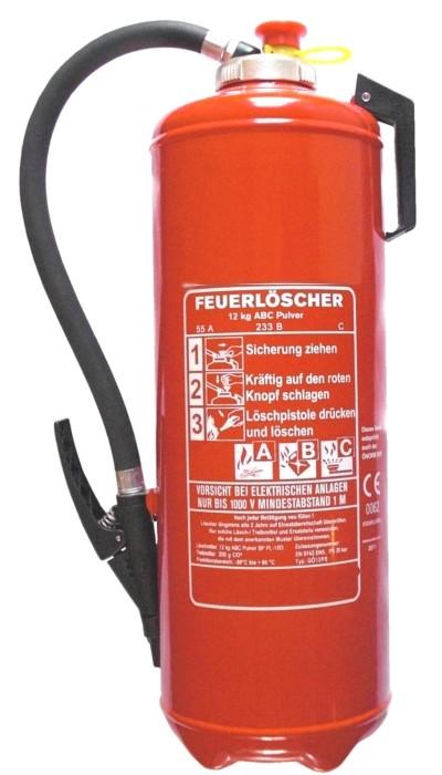12 kg ABC- Pulver- Auflade- Feuerlöscher EN 3  Rating: 55 A, 233 B, C = 15 LE
