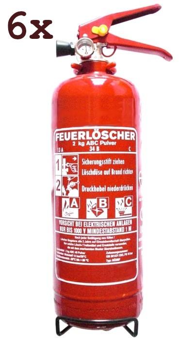 SixPack 2 kg ABC- Pulver- Dauerdruck- Feuerlöscher EN 3 , Rating: 04 LE, 13 A, 34 B