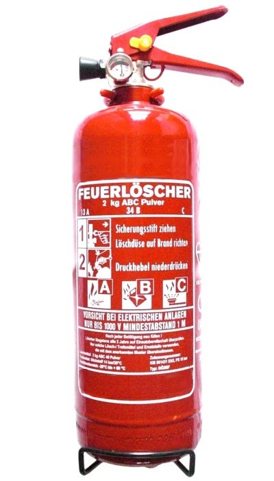 2 kg Feuerlöscher ABC Pulver EN 3 Auto Boot Camping KFZ Halter