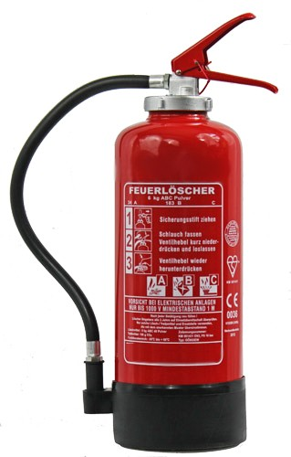 6 kg ABC-Pulver-Auflade-Feuerlöscher EN 3 Rating: 10 LE, 34 A, 183 B, mit oder ohne Instandhaltungsnachweis erhältlich!