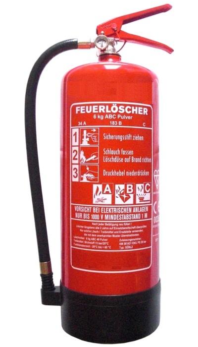 6 kg ABC-Pulver-Dauerdruck-Feuerlöscher EN 3, Rating: 10LE, 34 A, 183 B, mit oder ohne Instandhaltungsnachweis erhältlich!