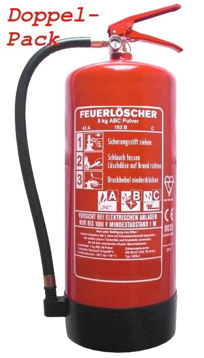 2 er Paket 9 kg ABC-Pulver-Dauerdruck-Feuerlöscher EN 3, Rating: 43 A, 183 B, C = 12 LE
