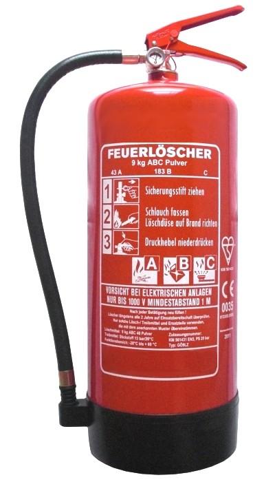 9 kg Feuerlöscher Pulver ABC EN 3 Wandhalter Sicherhventil Standfuß 12 LE