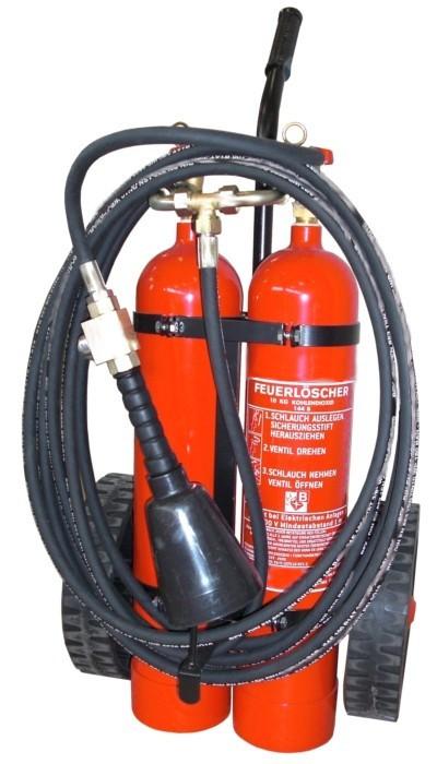 10 kg CO2- Feuerlöscher fahrbar EN 1866, Rating: 144 B, mit oder ohne Instandhaltungsnachweis erhältlich!