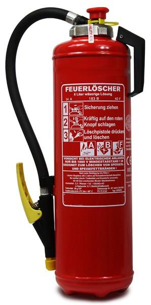 6 L  Fettbrand- Kartuschen- Auflade- Feuerlöscher DIN EN 3, GS ,Rating: 34 A 183 B, 40 F = 10 LE, mit oder ohne Instandhaltungsnachweis erhältlich!