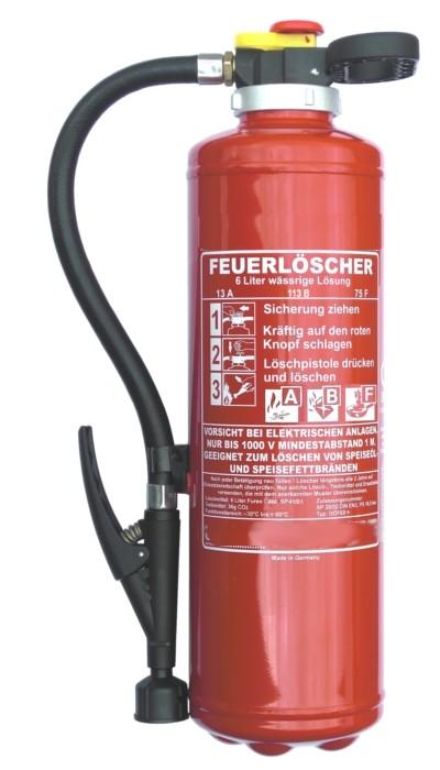 6 L  Fettbrand- Auflade- Feuerlöscher DIN EN 3  frostsicher - 30 C° , Rating: 21 A ,113B, 75 F = 6 LE, mit oder ohne Instandhaltungsnachweis erhältlich!