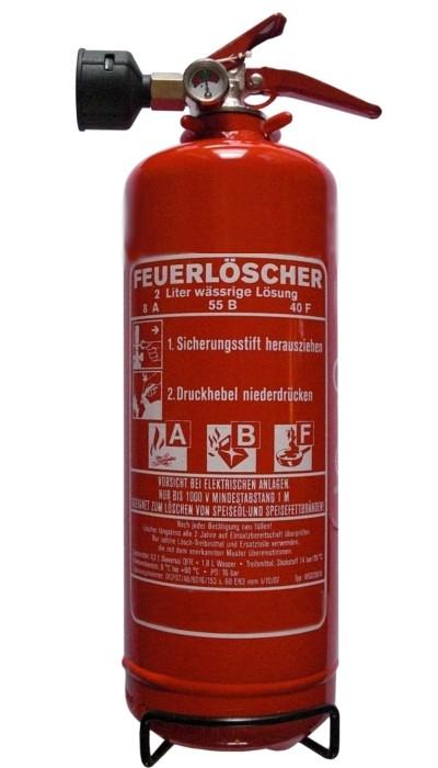 2 L Fettbrand-Feuerlöscher-Dauerdruck EN 3  Rating: 02 LE, 8 A, 55 B  frostsicher - 30 ° C, mit oder ohne Instandhaltungsnachweis erhältlich!