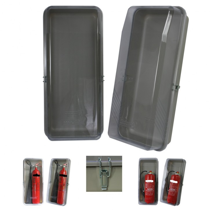 Feuerlöscher Klarsichtschutzbox für 12 kg/ 5 kg CO2 Geräte mit 2 Metallverschlüssen lose Feuerlöscher Feuerlöscherkasten Schutzhaube Schutzbox Feuerlöscherschutzschrank LKW