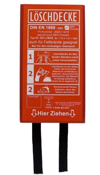 Löschdecke 100 x 100 cm, in flacher roter Box DIN EN 1869:2001 MPA geprüft