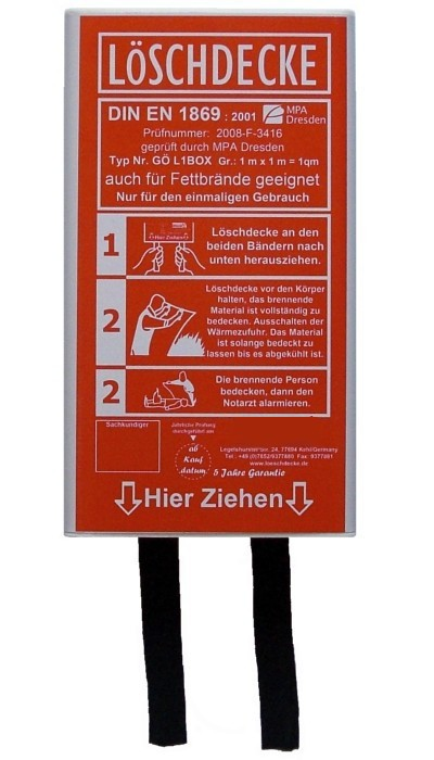 Löschdecke 100x100cm, in flacher-Box DIN EN 1869:2001
