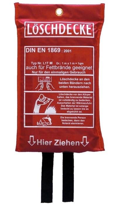 Löschdecke Brandschutzdecke Feuerlöschdecke Branddecke auch für Fettbrände geeignet EN 1869:2001, 100 x 100 cm