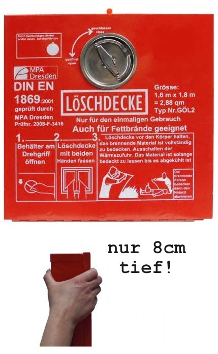 Löschdeckenbox Stahlblech rot Gr. L 30xB 30xT 8 cm mit Steckplombe Plombierbar