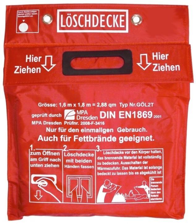 Löschdecke 1,60 x 1,80 m , in roter PVC Tasche mit Klettverschluß DIN EN 1869:2001