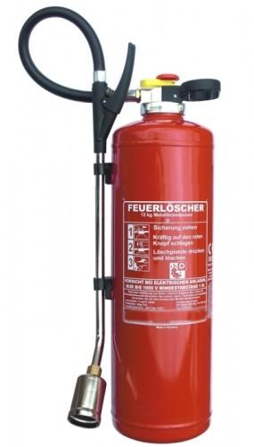 12 kg Metallbrand Pulver Auflade Feuerlöscher DIN EN 3 , Brandklasse: D, mit oder ohne Instandhaltungsnachweis erhältlich!
