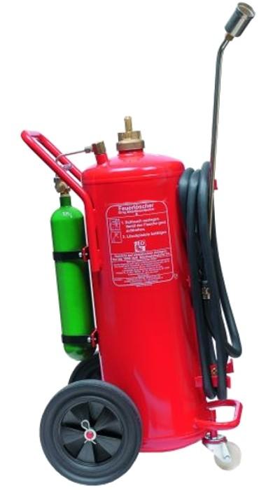 50 kg Metallbrand- Pulver- Auflade- Feuerlöscher- fahrbar DIN EN 3, Brandklasse: D, mit oder ohne Instandhaltungsnachweis erhältlich!