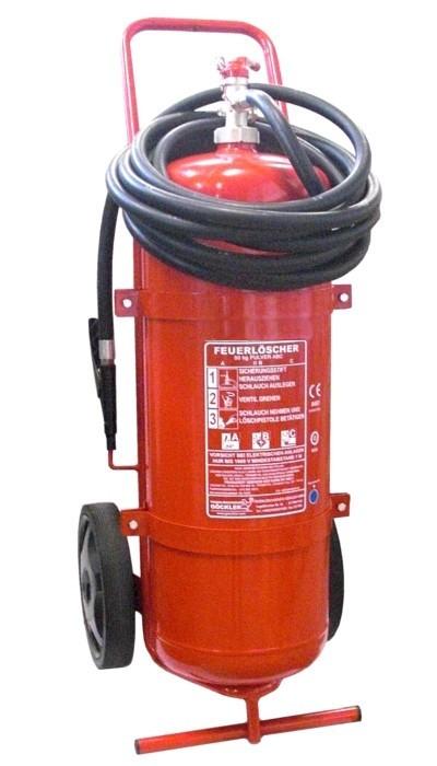 50 kg ABC Pulver Dauerdruck Löschwagen 5m Schlauch CE EN 1866, Brandklasse: A, IV B, C, mit oder ohne Instandhaltungsnachweis erhältlich!