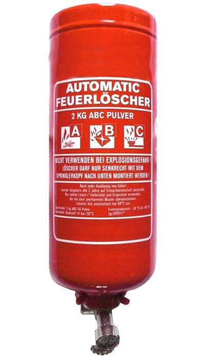 2 kg  Automatik- Pulver- Dauerdruck- Feuerlöscher CE, mit oder ohne Instandhaltungsnachweis erhältlich!