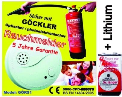 Rauchmelder BS EN 14604:2005 geprüft inkl. 9 Volt GLP Lithium Blockbatterie
