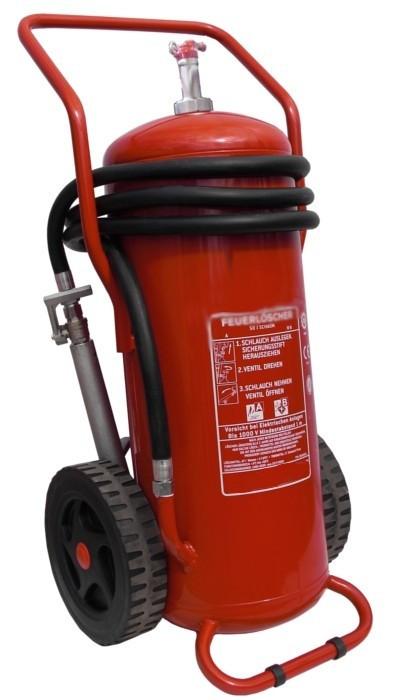 50 l Schaum Dauerdruck- Feuerlöscher fahrbar EN 1866, Brandklasse: A, IV B, mit oder ohne Instandhaltungsnachweis erhältlich!