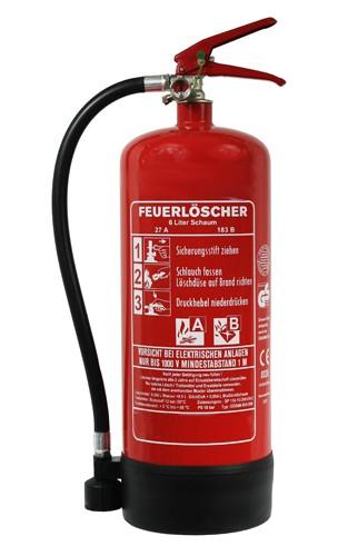 6 L Schaum Dauerdruck- Feuerlöscher DIN EN 3 SP 114/ 13, GS, Rating: 27 A, 183 B = 9 LE außenliegendes Prüfventil, mit oder ohne Instandhaltungsnachweis erhältlich!