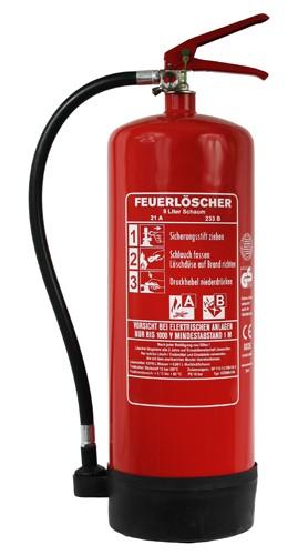9 L Schaum Dauerdruck- Feuerlöscher DIN EN 3 SP 113/ 13, GS, außenliegendes Prüfventil Rating: 27 A, 233 B = 9 LE, mit oder ohne Instandhaltungsnachweis erhältlich!