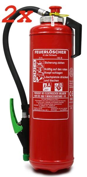 Doppelpack 2x  6 Liter Schaum-Kartuschen-Feuerlöscher DIN EN 3, SP 141/11 , GS  Rating: 10 LE, 34A , 183 B