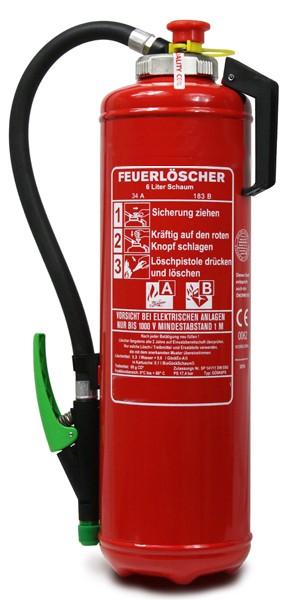 6 L  Schaum- Kartuschen- Auflade- Feuerlöscher DIN EN 3 Rating: 34 A, 183 B = 10 LE