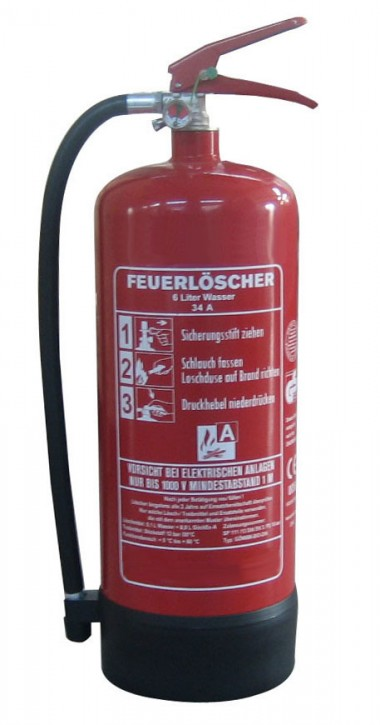 6 L Wasser Feuerlöscher DIN EN 3, GS , Rating: 10 LE, 34 A, mit oder ohne Instandhaltungsnachweis erhältlich!