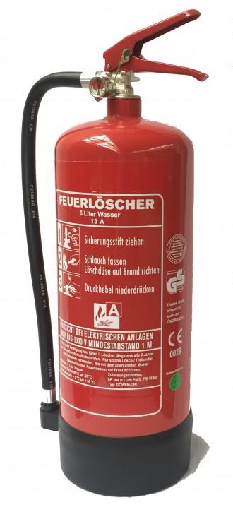 6 L Wasser-Dauerdruck Feuerlöscher DIN EN 3, GS , Rating: 13 A  = 4 LE, mit oder ohne Instandhaltungsnachweis erhältlich!
