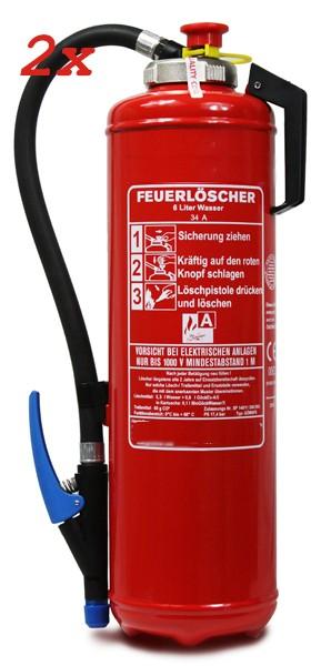 Doppelpack 6 L Wasser -Auflade - Feuerlöscher DIN EN 3, GS , mit innenliegender CO2 Patrone, Rating: 34 A = 10 LE