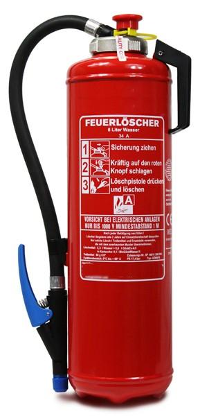 6 L Wasser- Auflade- Feuerlöscher DIN EN 3 , GS , Rating:  34 A = 10 LE, mit oder ohne Instandhaltungsnachweis erhältlich!