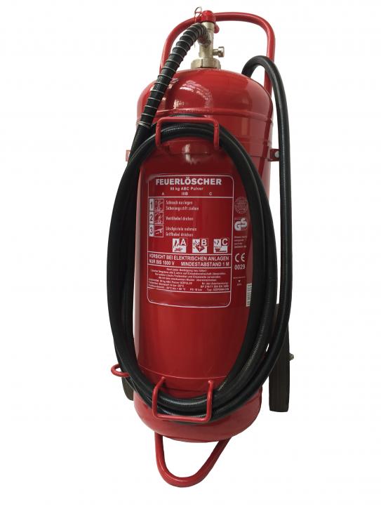 50 kg ABC Pulver Feuerlöscher fahrbar Löschwagen 5m Schlauch GS DIN EN 1866 Kugelhahn, mit oder ohne Instandhaltungsnachweis erhältlich!