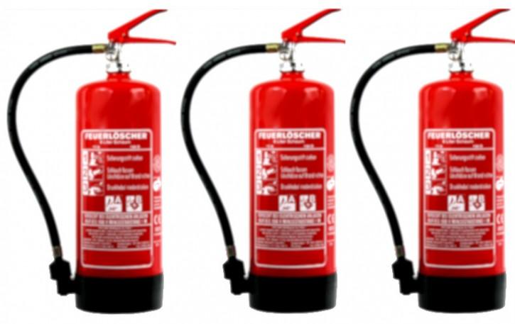 3´er Pack 6 L Schaum Dauerdruck-Feuerlöscher DIN EN 3 SP 154/13 , GS , Rating: 06 LE, 21 A, 144 B