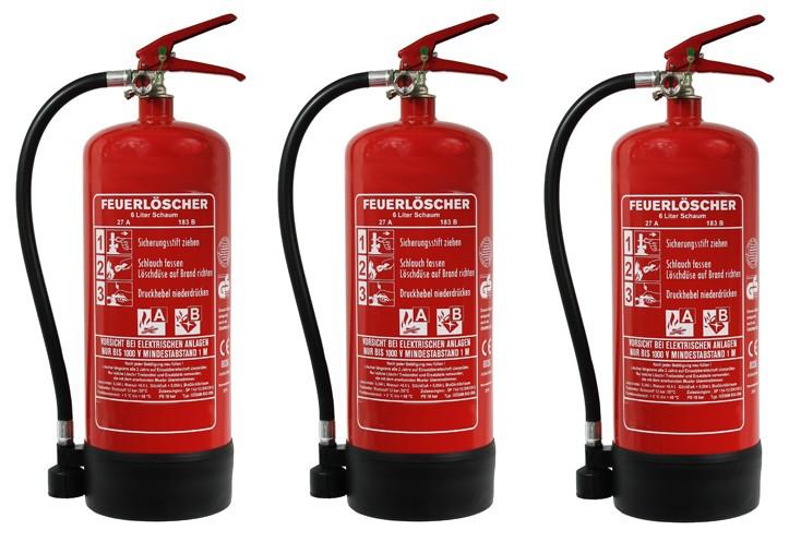 3 er Paket = 3 St.  6 L Schaum Dauerdruck- Feuerlöscher DIN EN 3 SP 112/ 13, GS, Rating: 21A , 183 B = 6 LE außenliegendes Prüfventil, mit oder ohne Instandhaltungsnachweis erhältlich!