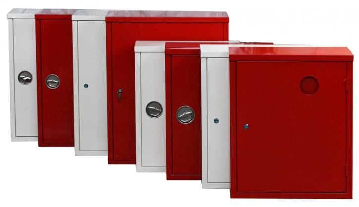 verschiedene 2 er Stahlblechschutzschränke für 2 Stück 6 oder 6/9/12 kg Feuerlöscher, Farbe: rot oder weiß mit Schloß (gleichschließend), Scheibe, 2 Schlüssel, oder Drehgriff + Feuerlöscher Symbol Aufkleber