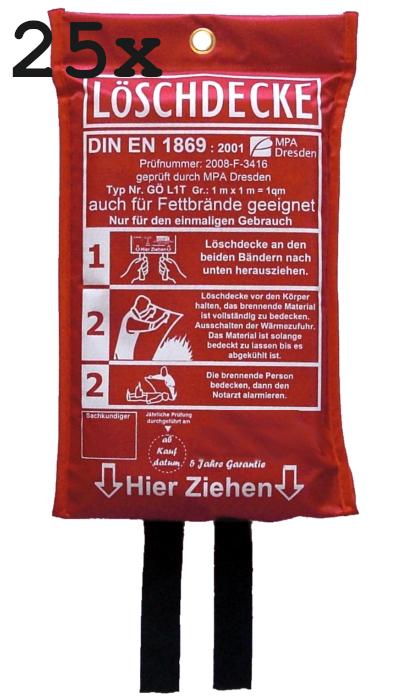 25 x Löschdecke 100 x 100cm, geprüft durch MPA Dresden. DIN EN 1869:2001