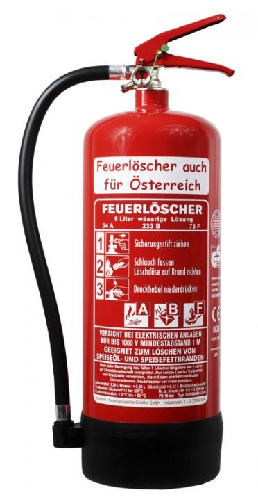 6 L Feuerlöscher auch für Österreich Fettbrand ABF BIO DIN EN 3 GS Küche Hotel Gasthof Wandhalter Manometer, mit oder ohne Instandhaltungsnachweis erhältlich!