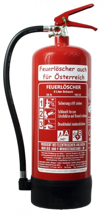 6L Feuerlöscher auch für Österreich Schaum AB BIO DIN EN 3 GS Gasthof Haus, mit oder ohne Instandhaltungsnachweis erhältlich!