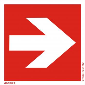 Richtungsangabe-Symbol-Schild gerade, Gr.: 200 x 200 mm, Kunststoffplatte nicht klebend rot, Symbol nach ISO 7010