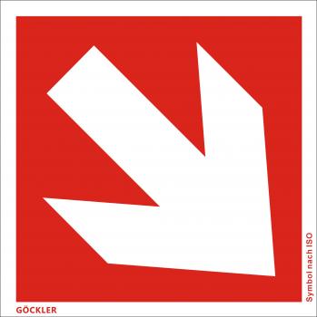 Richtungsangabe-Symbol-Schild schräg, Gr.: 150 x 150 mm, Kunststoffplatte nicht klebend rot, Symbol nach ISO 7010