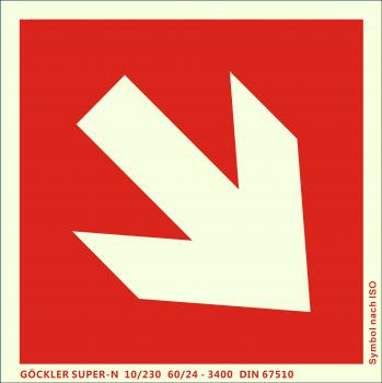 Richtungsangabe-Symbol-Schild schräg,Gr.: 150 x 150 mm, langnachleuchtende Kunststoffplatte mit selbstklebender Schaumschicht rot, Symbol nach ISO 7010 ,SUPER-N 10/230 60/24 - 3400 DIN 67510