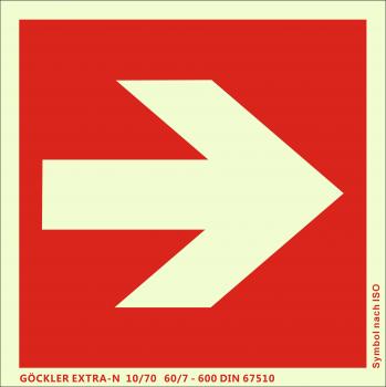 Richtungsangabe-Symbol-Schild gerade,Gr.: 150 x 150 mm,langnachleuchtende Aluminium Platte mit selbstklebender Schaumschicht rot,Symbol nach ISO 7010,EXTRA-N 10/70 60/7 - 600 DIN 67510