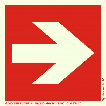 Richtungsangabe-Symbol-Schild gerade,Gr.: 200 x 200 mm,langnachleuchtende Aluminium Platte mit selbstklebender Schaumschicht rot,Symbol nach ISO 7010,SUPER-N 10/230 60/24 - 3400 DIN 67510