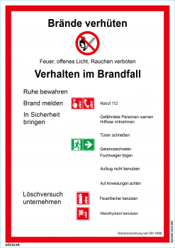 Brandschutzordnung: Brände verhüten-Schild, Gr.: 210 x 297 mm,Kunststoffplatte nicht selbstklebend ,Symbol nach ISO 7010