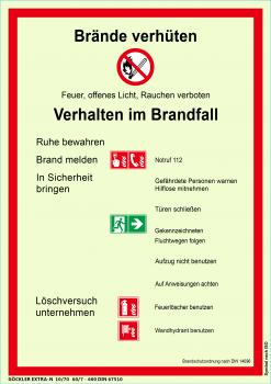 Brände verhüten-Schild, Gr.: 210 x 297 mm, langnachleuchtende Kunststoffplatte mit selbstklebender Schaumschicht, Symbol nach ISO 7010, EXTRA-N 10/70 60/7 - 600 DIN 67510