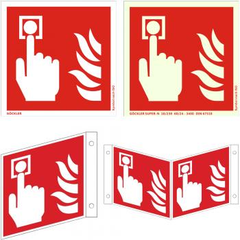 Brandschutzzeichen Brandmelder Feuermelder ( manuel ) - Schild ISO 7010 F005, von 150- 200 mm