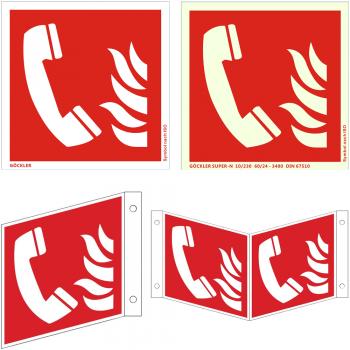 Brandmeldetelefon Brandschutzzeichen - Schild ISO 7010 F006, von 150- 200 mm