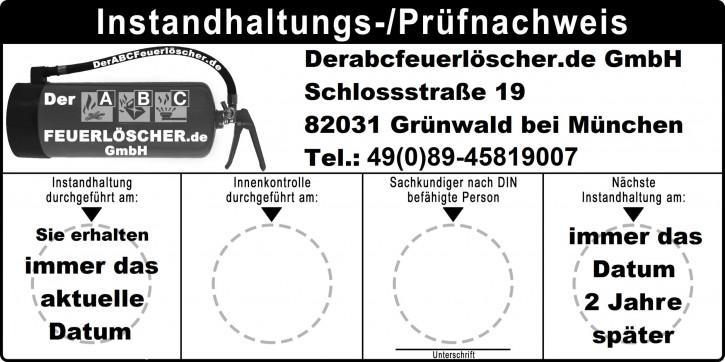 Instandhaltungsnachweis aktuelles Prüfdatum , sowie Datum der nächsten Prüfung , erhältlich nur in verbindung mit einem Neukauf eines Feuerlöschers