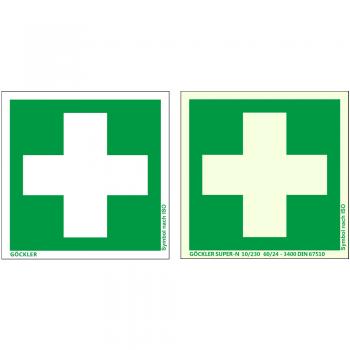 Hier klicken Erste Hilfe- Symbol- Schild ISO, von 100-200 mm
